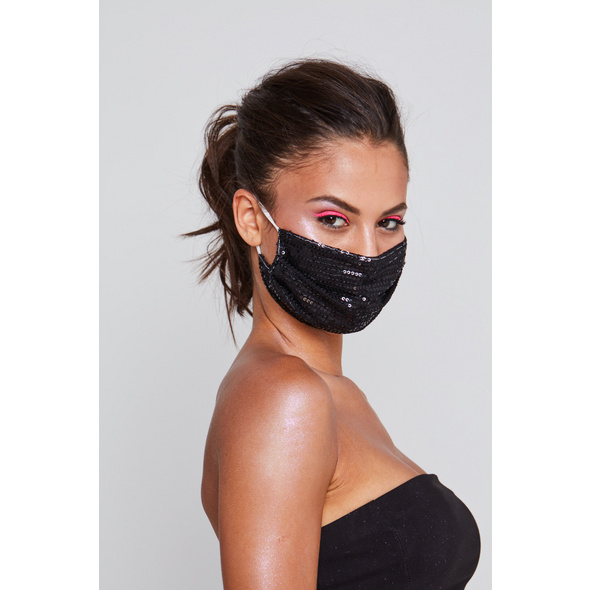 Mundbedeckung - Black Glitter
