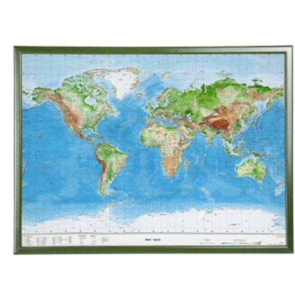 Welt Gross 1:53.000.000 mit Holzrahmen