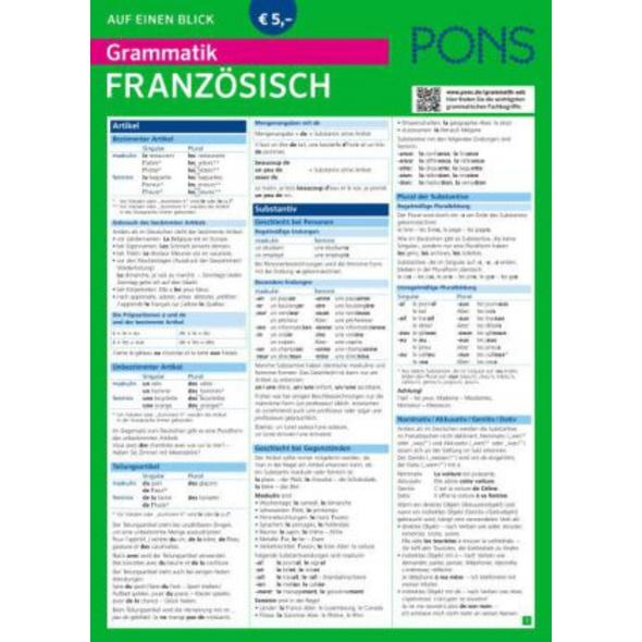 PONS Grammatik auf einen Blick Französisch