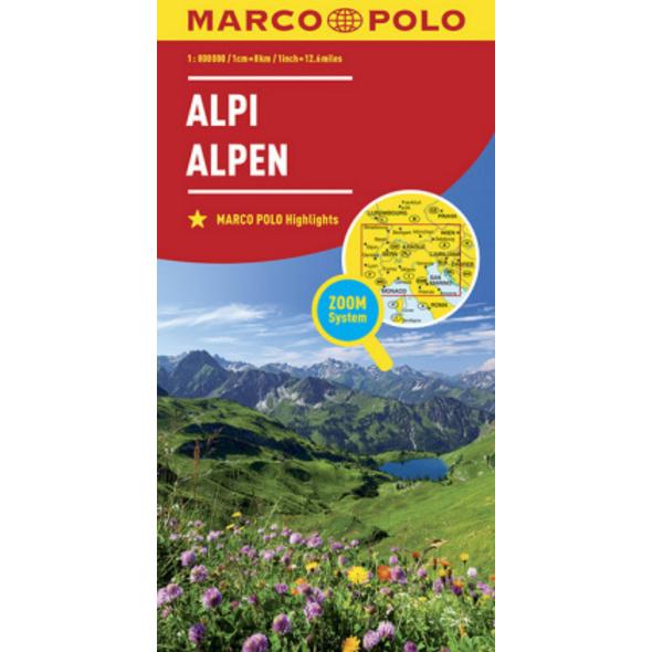 MARCO POLO Länderkarte Alpen 1:800 000