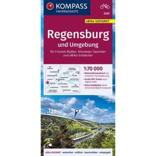 KOMPASS Fahrradkarte Regensburg und Umgebung 1:70.