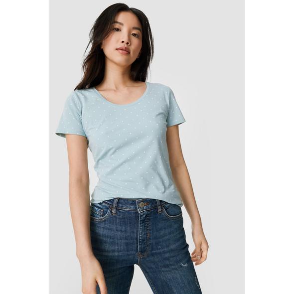 Basic-T-Shirt - Bio-Baumwolle - gepunktet