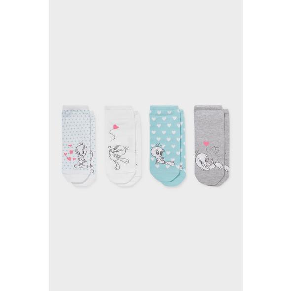 Multipack 4er - Sneakersocken - Bio-Baumwolle -Tweety