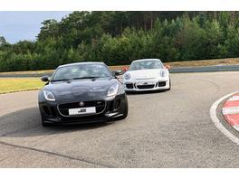 Rennstreckentraining Jaguar vs. Porsche