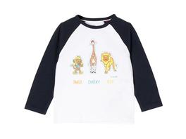Langarmshirt, Anziehhilfe, Tier-Patches, zweifarbig, für Baby Jungen