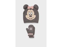 Minnie Maus - Set - Baby-Mütze und Baby-Fäustlinge